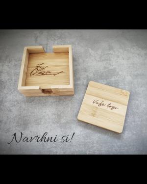 Bambusová sada podtácnikov s gravírovaním menom / textom / logom
